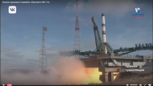 Il cargo spaziale Progress MS-13 al decollo su un razzo Soyuz-2.1a (Immagine cortesia Roscosmos)