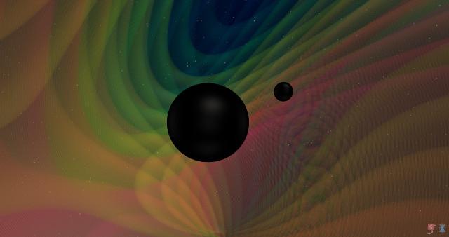Una schermata da una simulazione di un evento come GW190412