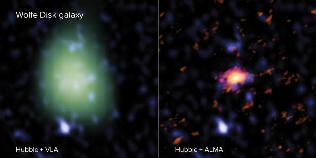 Wolfe Disk vista da Hubble+VLA e Hubble+ALMA