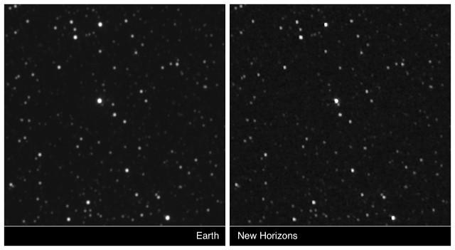 Proxima Centauri vista dalla Terra e dalla sonda spaziale New Horizons