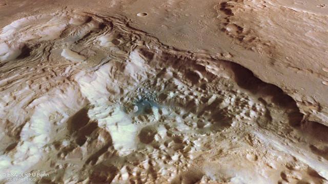 Vista in prospettiva del terreno caotico di Pyrrhae Regio su Marte vista da Mars Express