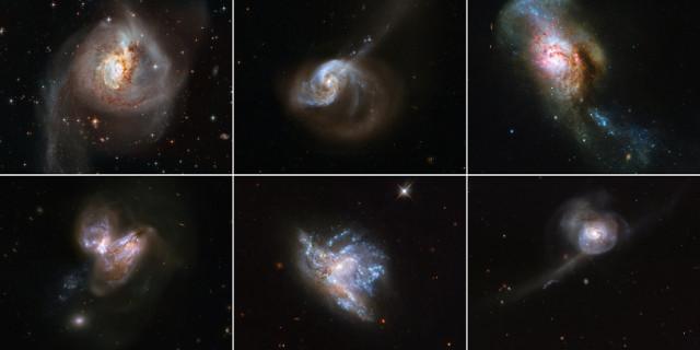 Sistemi di fusione galattica: in alto ci sono le galassie NGC 3256, NGC 1614 e NGC 4194; in basso ci sono le galassie NGC 3690, NGC 6052 e NGC 34.