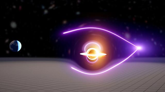 Concetto artistico del candidato buco nero di massa intermedia e del lampo gamma da esso deviato (Immagine cortesia Carl Knox, OzGrav)