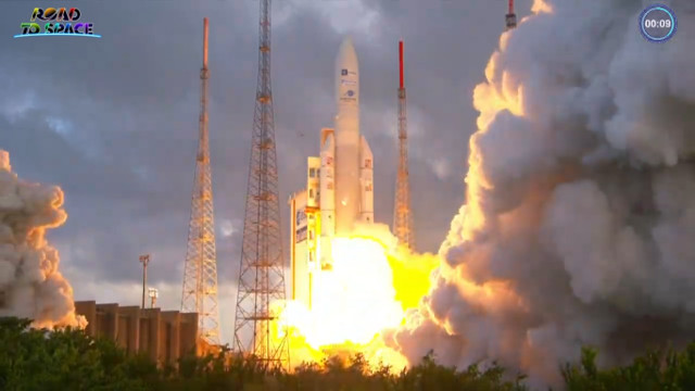 I satelliti Star One D2 ed Eutelsat Quantum al decollo su un razzo Ariane 5 (Immagine cortesia Arianespace)