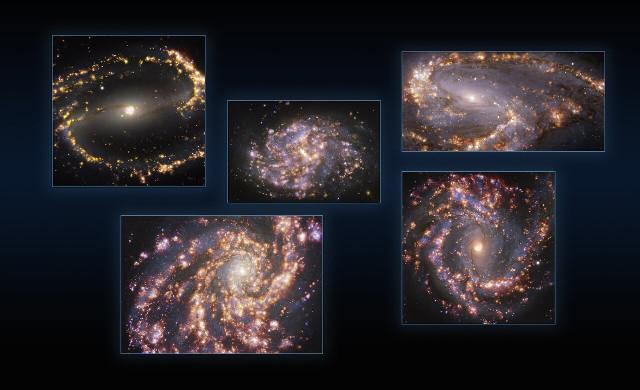 Le galassie NGC 1300, NGC 1087 e NGC 3627 in alto, NGC 4254 e NGC 4303 in basso