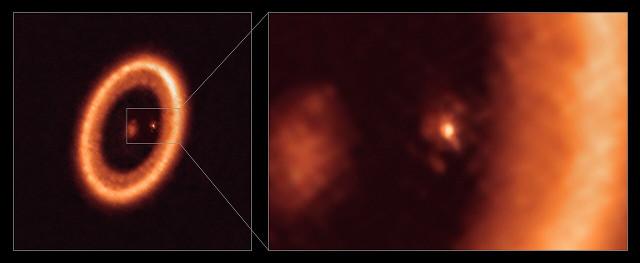 Il sistema PDS 70 e il particolare del protopianeta PDS 70 c