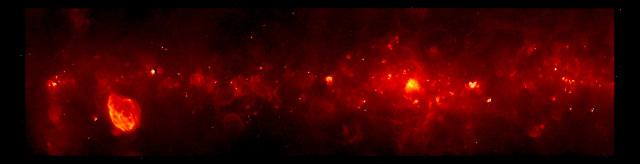 Una mappa ottenuta dall'indagine GLOSTAR con un segmento del disco della Via Lattea