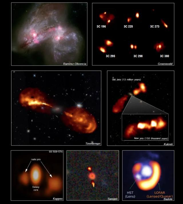 Varie immagini astronomiche che combinano la rete LoFar con altri strumenti