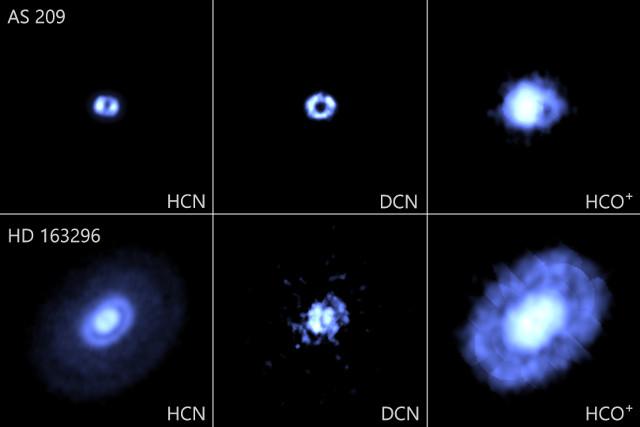 Distribuzione di diverse molecole mappate nei dischi protoplanetari attorno alle stelle AS 209 e HD 163296