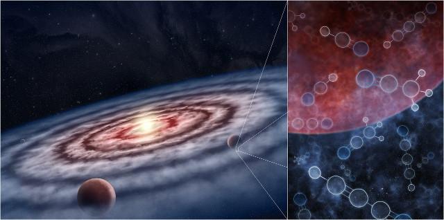 Illustrazione artistica di un pianeta in formazione in un disco protoplanetario con molecole al suo interno rilevate dal programma MAPS