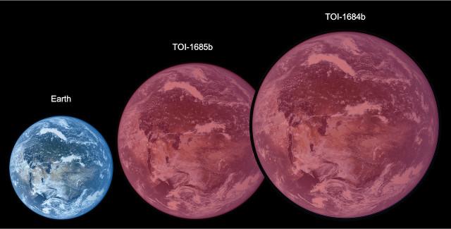 Illustrazione artistica che confronta le dimensioni di Terra, TOI-1634b e TOI-1685b (Immagine cortesia Astrobiology Center)